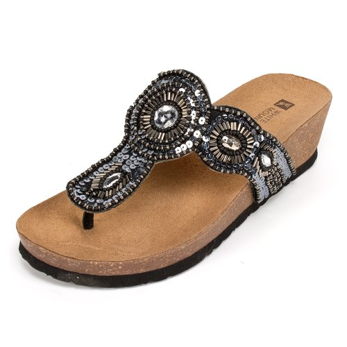 White Mountain Women's Blast Thong Sandal,Black,11 M - White Mt Shoes For Women