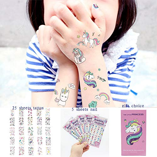 Temporary Tattoos Nail (Unicorn Temporary Tattoos Waterproof Unicorn Stickers for Kids,Unicorn Party Supplies,Unicorn Tattoos Girls Party Favors Birthday Gifts,25 Sheets Tattoos Stickers+5 Sheets Nail Stickers (Pink))