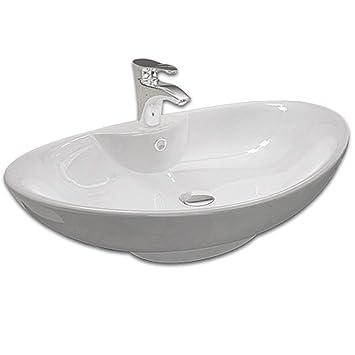 Design Keramik Oval Waschtisch Handwaschbecken Aufsatz Waschschale