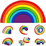 kizh Wooden Rainbow Stacking Game Learning Toy Geometry Building Blocks Nesting Stacker Colorful Educational Toys Puzzle for Kids Baby Toddlers Children