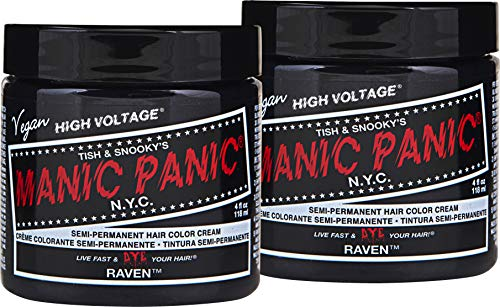 (Manic Panic Raven Black Hair Color Cream (2-Pack) Classic High Voltage Semi-Permanent Hair Dye - Vivid, Black Shade - For Dark or Light Hair - Vegan, PPD & Ammonia-Free - Ready-to-Use, No-Mix Coloring)