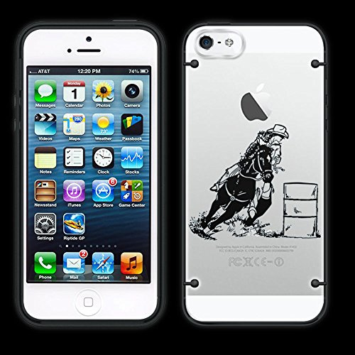iPhone 5C Silhouette Cow Girl Barrel Racer Racing on Clear with Black Trim Case