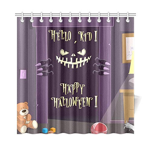 WUTMVING Home Decor Bath Curtain Happy Halloween Night Spooky Nightmare Polyester Fabric Waterproof Shower Curtain for Bathroom, 72 X 72 Inch Shower Curtains Hooks Included ()