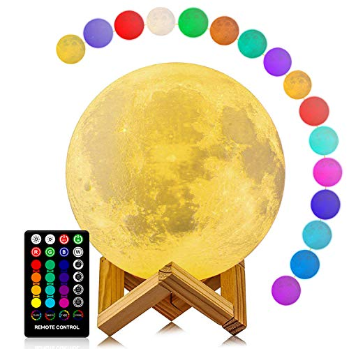 Moon Lamp, LOGROTATE 16 Colors RGB Led Moon Light with Stand and Timing Setting, Moon Light Lamps with Remote & Touch Control and USB Recharge for Kids Lover Birthday Christmas Gifts (5.98 Inch)