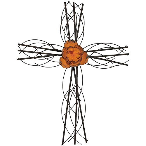 Curved Orange Floral 20 Inch Metal Decorative Hanging Wall (Orange Wall Cross)