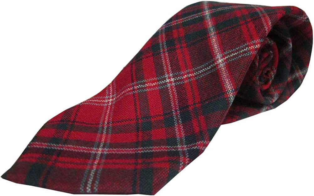 Ramsay Modern Red 100/% Wool Authentic Traditional Scottish Tartan Neck Tie