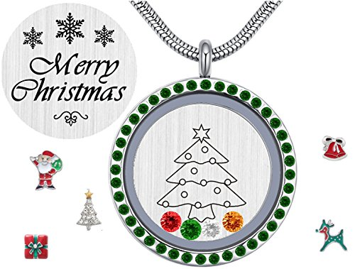 Christmas Stainless Steel Floating Charms Living Memory Lockets,Magnetic Closure Green Crystal 30mm Round Pendant Necklace with Birthstones, Xmas Gift for Teens Girls Girlfriend - A Round I Have Face