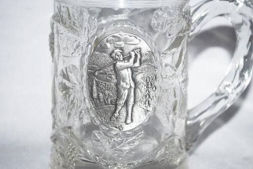 Crystal Mug Glass with Grapevine and Pewter Golfer Emblem in Gift Box