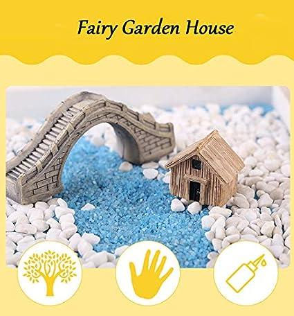 Kunstharz Miniatur-Feengarten-Holzhaus gelb f/ürs Puppenhaus H/ütten-Figur Garten- und Heimdeko Hobby-Zubeh/ör S Bonsai-Ornamente Cupcinu Mini-Blockhaus