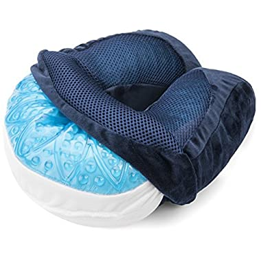 Luxe Travel Solutions Memory Foam Gel Neck Travel Pillow with Velour Cover