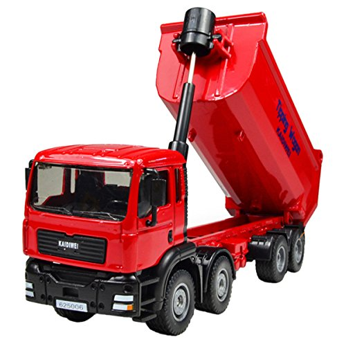 1:50 Scale Alloy Diecast Construction Models Vehicles Toys Moveable Tip Lorry Dump Truck for Kid Red