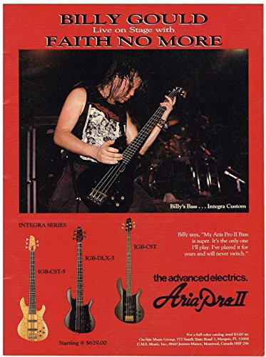 Aria Pro II Guitars - Billy Gould of Faith No More - 1991 Print Advertisement