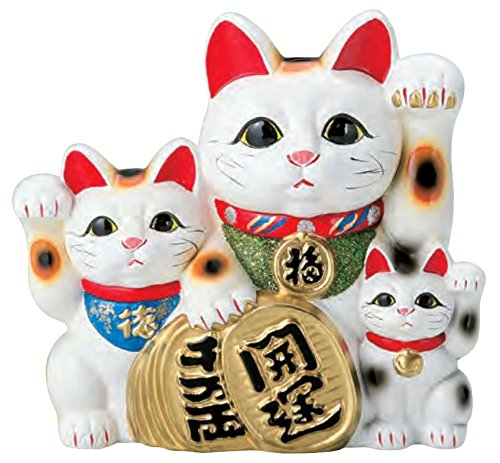 国産 常滑焼 招き猫 招き猫 白三匹 10号 765-17-904 B00TYK4YRW 10号 10号