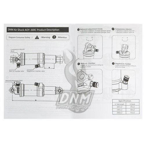 DNM AO42RC Mountain Bike Air Rear Shock With Lockout