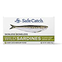 Wild Sardines, Skinless & Boneless, Packed in Extra Virgin Olive Oil, Mercury Tested, 4.4oz (Pack of 12) (Packed in Extra Virgin Olive Oil)