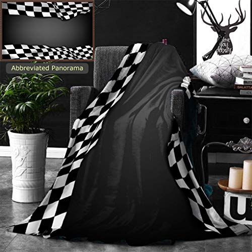 Ralahome Unique Custom Digital Print Flannel Blankets Black Background with Checkered Flag and Space for Your Text Inside Super Soft Blanketry for Bed Couch, Throw Blanket 60 x 50 Inches