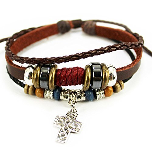 Fashion Silvery Cross Pendant Brown Braided Rope Handmade Good Leather Bracelet,Adjustable