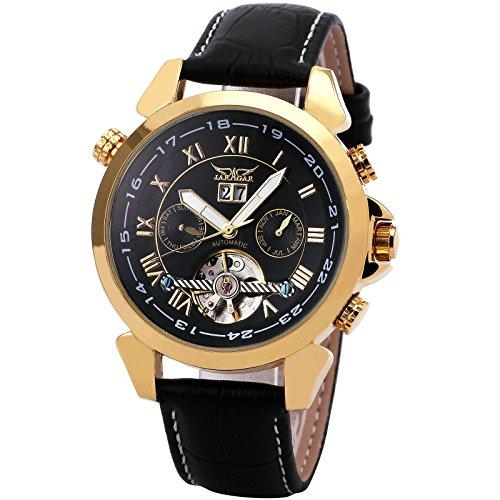 WINNER Men's Black Leather Strap Watch 001 - 1