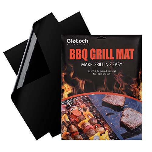 Glotoch Express Grill Mat - Set of 2+1 Heavy Duty BBQ Grill Mats - 100% Non Stick, Reusable, and Easy to Clean Barbecue Grilling Accessories - Lifetime Manufacturers