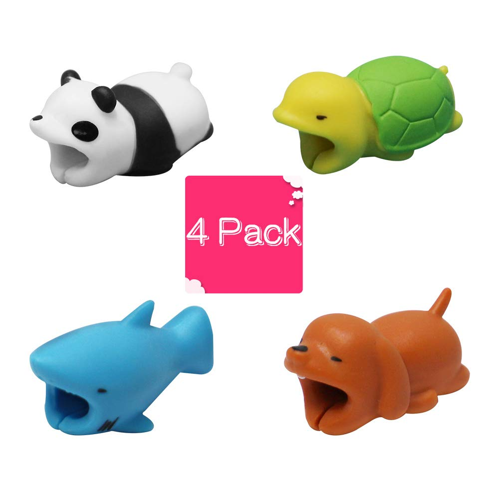 Cable Bite Charger Protectors Cute Animal Cord Cable Cord Data Line Cell Phone Accessory (4 Pack) KcswuhCM
