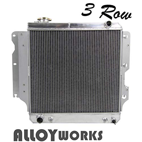 ALLOYWORKS 3 Row Core Full Aluminum Radiator for Jeep Wrangler YJ TJ 2.4L & 2.5L & 4.0L & 4.2L 1987-2006 (Silver)