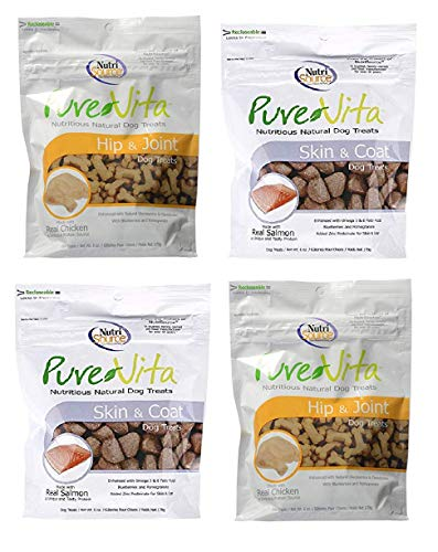 Pure Vita Dog Treats Bundle, Salmon Skin & Coat and Chicken Hip & Joint (4 Pack)