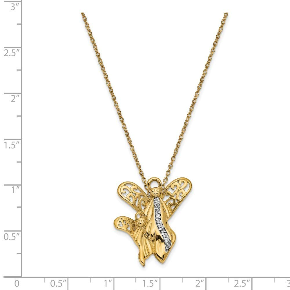 18 Inch 925 Sterling Silver Polished Gift Boxed Spring Ring Gold-Flashed Cubic Zirconia Angel Necklace