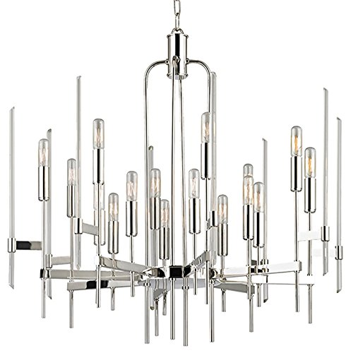 Bari 16-Light Chandelier - Polished Nickel Finish with Clear Glass Shade