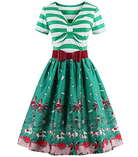 Aecibzo Vintage Sleeves 1950s Cocktail Women's Dress Party Green Retro Swing Dresses with EEF6qr5