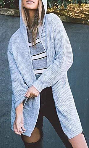 Manga Mujer Larga Grau Cardigan Sólido Chaqueta Capa Ropa Vintage Abiertas Encapuchado Otoño Capucha Abrigos Señora Color Casual Cordones Outerwear Primavera Con rrwWCOfqS