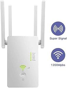 AC1200 5GHZ&2.4GHZ Dual Band/WiFi Range Extender/WiFi Long Range Extender Repeater/Access Point/Router/Wireless Signal Booster & Gigabit Ethernet Port WiFi Range Amplifier 4 External Antennas