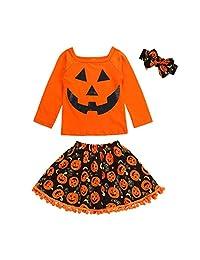 Halloween Skirt Costume Outfits Kids Baby Girls Cartoon Shirt and Dress Aline