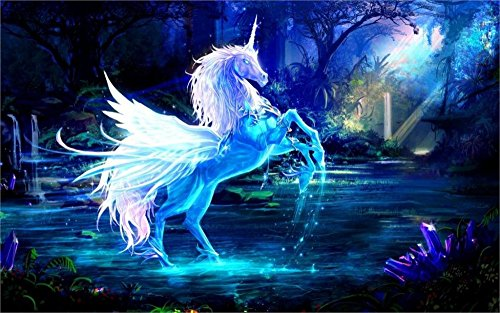 Tomorrow sunny Art pictures unicorn horse water rays forest