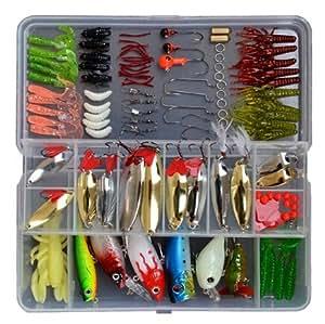 119 pcs bionic fishing lure tackle kit set for Amazon fishing spinners