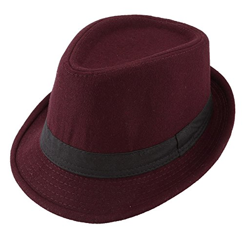 Unisex Classic Manhattan Fedora Hat with Black Band Fashion Casual Jazz Wool Cap (Wine -