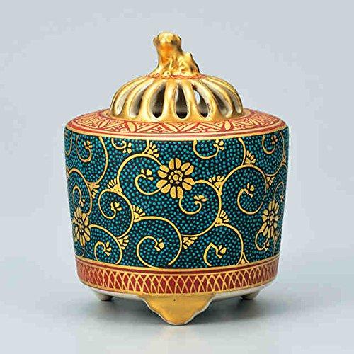 Japanese drawn Ceramic Porcelain kutani ware. Japanese incense burner KORO with wooden box. '' Japanese ceramic Hagiyakiya 1321