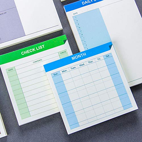 Dasanito3089 Memo Pad Daily Schedule Weekly Month Planner Check List Portable Small Book Memo Pad Sticky Notes Stationery School Supply