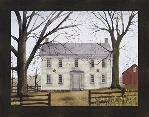 Early American Home by Billy Jacobs 22x28 Americana Country House Primitive Folk Art Country Print Framed Picture