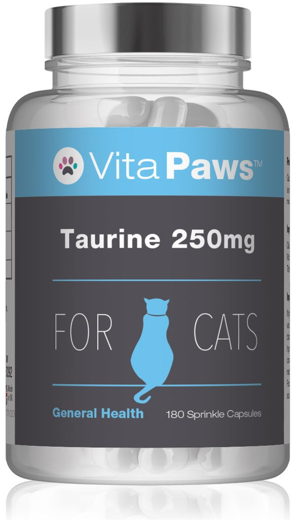 Taurine 250mg for Cats by VitaPawsTM   180 Sprinkle Capsules   100% Money Back Guarantee   Manufactured in The UK