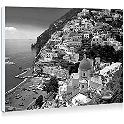 Positano, Amalfi Coast, Italy - Art Print Wall Art Frameless Decorative Painting - Black and White - Ready To Hang - 16x12 Inches