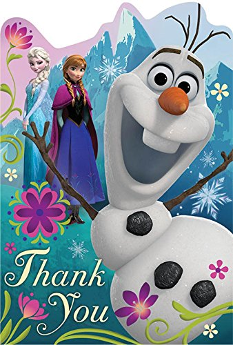 Disney Frozen Birthday Party Thank You Cards Supply (8 Pack), Multi Color, 6 1/4