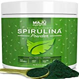 MAJU's Spirulina Powder - California Grown, Non-Irradiated, Non-GMO, Preferred to Chlorella, Pesticide-Free, Non Organic, Preferred to Hawaiian & Blue Algae, Pure Vegan Green Protein