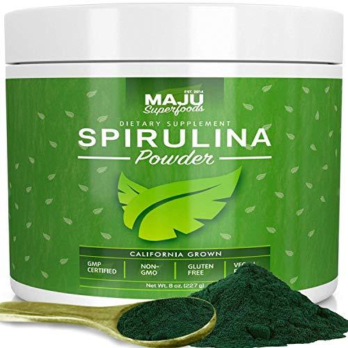MAJUs Spirulina Powder - California Grown, Non-Irradiated, Non-GMO, Preferred to Chlorella, Pesticide-Free, Non Organic, Preferred to Hawaiian & Blue Algae, Pure Vegan Green Protein