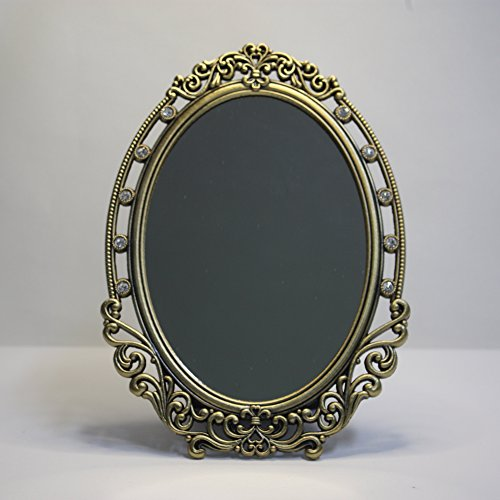 SEHAMANO Vintage Oval Frame Makeup metal Mirror with Crystal, Decorative Back Stand Travel Mirror (Brass ( Matt Gold)) ()