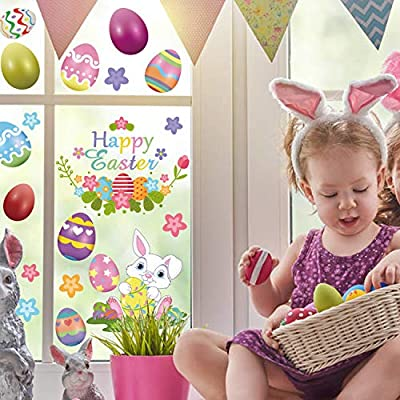 FRIDAY NIGHT 48PCS Easter Egg Bunny Window Clings, Easter Decorations Stickers Window Sticker Hunt Games Home Party Decal