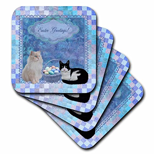 3dRose Kitty Cats with Easter Basket of Eggs On Musical Sheet Background, Blue - Ceramic Tile Coasters, Set of 4 (Cat Tile Coaster)