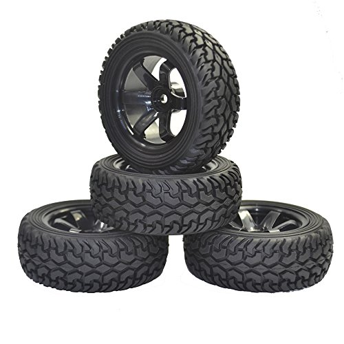 4PCS High Performance RC Rally Car Grain Rubber tires and Wheels for 1:10 RC On Road Car Traxxas Tamiya HSP HPI Kyosho (Game Rc Rally)