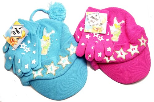ONE WILL BE SENT RANDOMLY PINK OR BLUE TINKERBELL 2 PCS BEANIE SET