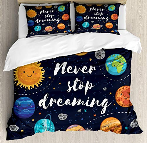 Quote 4pcs Bedding Set Queen Size, Outer Space Planets and Star Cluster Solar System Moon and Comets Sun Cosmos Illustration,Lightweight Microfiber Duvet Cover Sets, ()