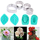 Garwarm 7pcs Set of Peony Flower Cutter Set Cake Decration Tool Fondant Cake Cutters Mold Sugarcraft Icing Decorating Flower Modelling Tools
